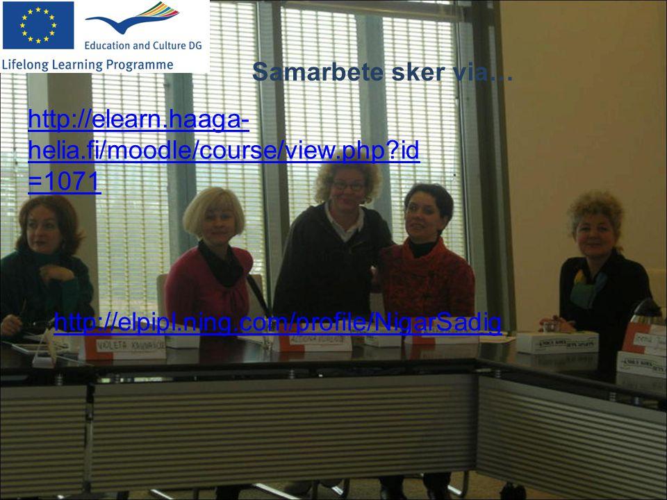 Samarbete sker via… http://elearn.haaga-helia.fi/moodle/course/view.php id=1071.