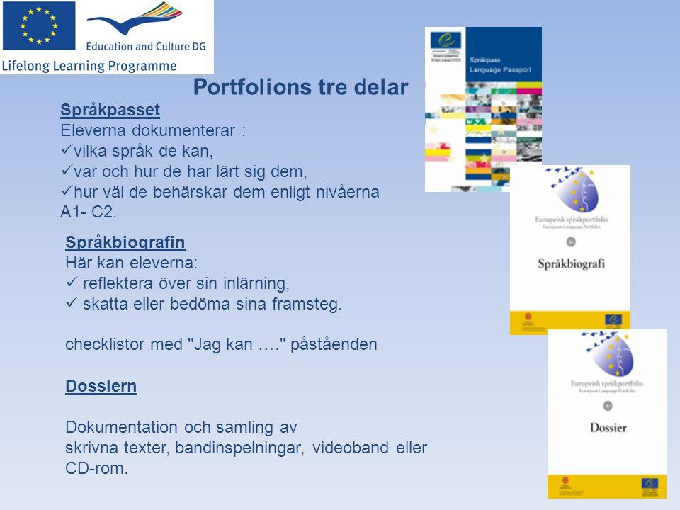 Portfolions tre delar Språkpasset Eleverna dokumenterar :