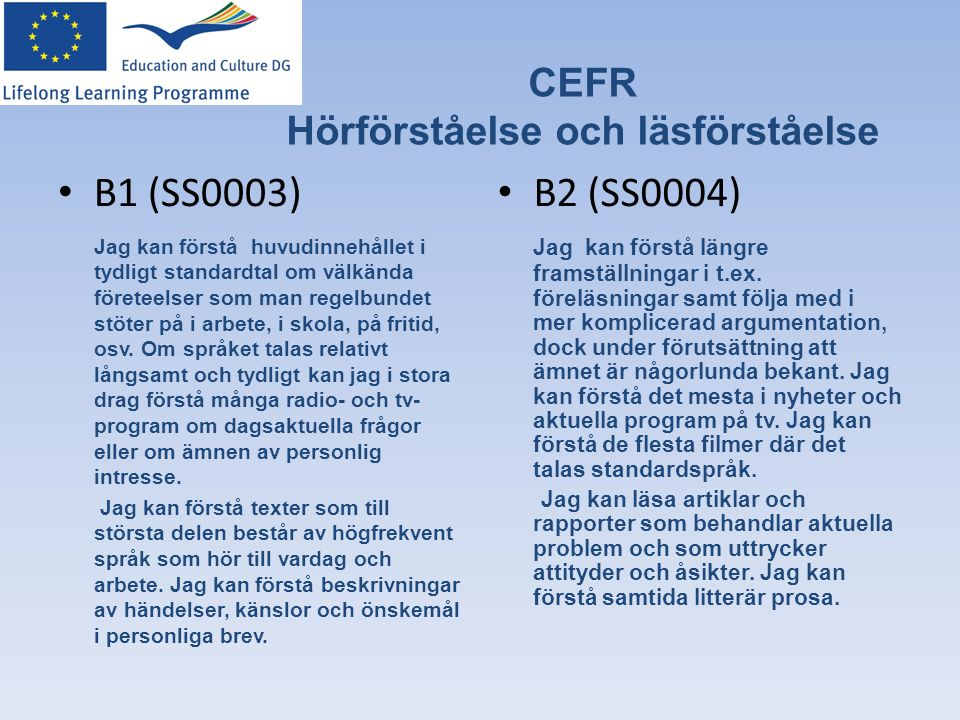 CEFR Hörförståelse och läsförståelse