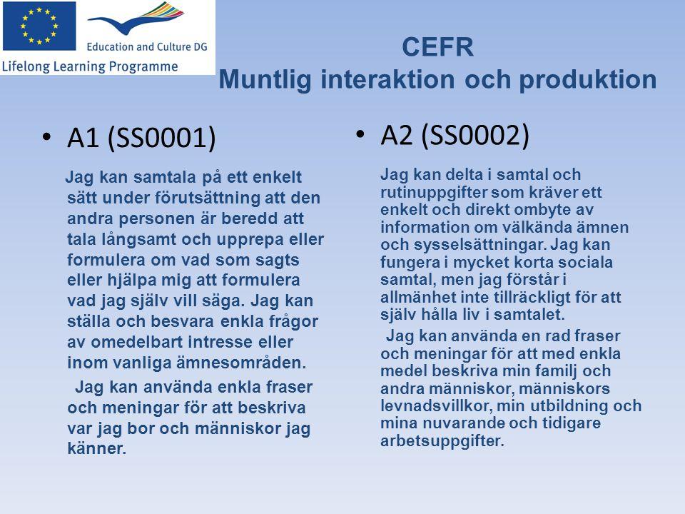 CEFR Muntlig interaktion och produktion
