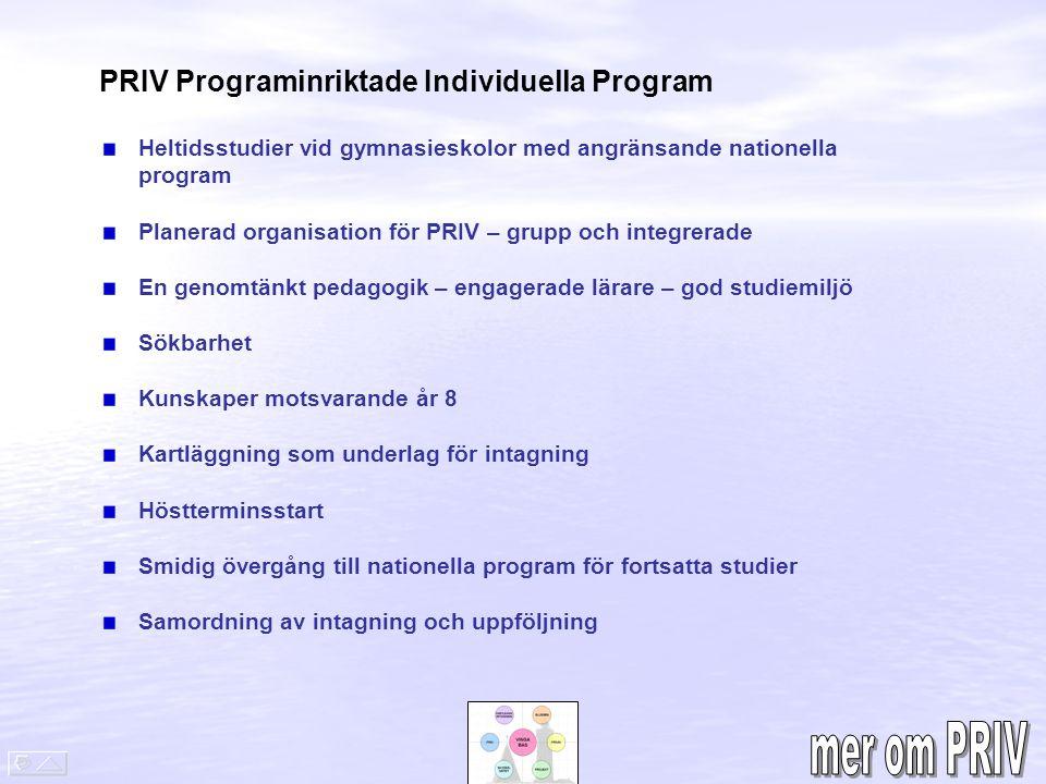 mer om PRIV PRIV Programinriktade Individuella Program