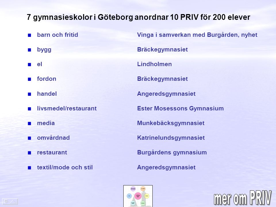 7 gymnasieskolor i Göteborg anordnar 10 PRIV för 200 elever