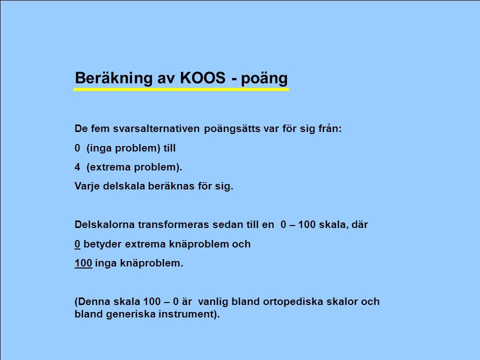Beräkning av KOOS - poäng