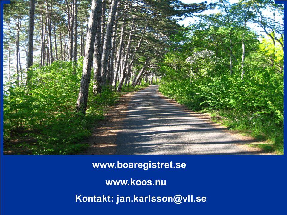 www.boaregistret.se www.koos.nu Kontakt: jan.karlsson@vll.se