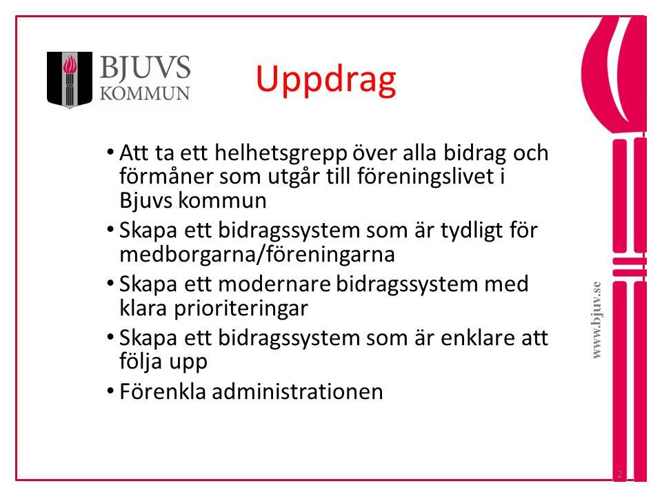 www.bjuv.se Uppdrag. Att ta ett helhetsgrepp över alla bidrag och förmåner som utgår till föreningslivet i Bjuvs kommun.