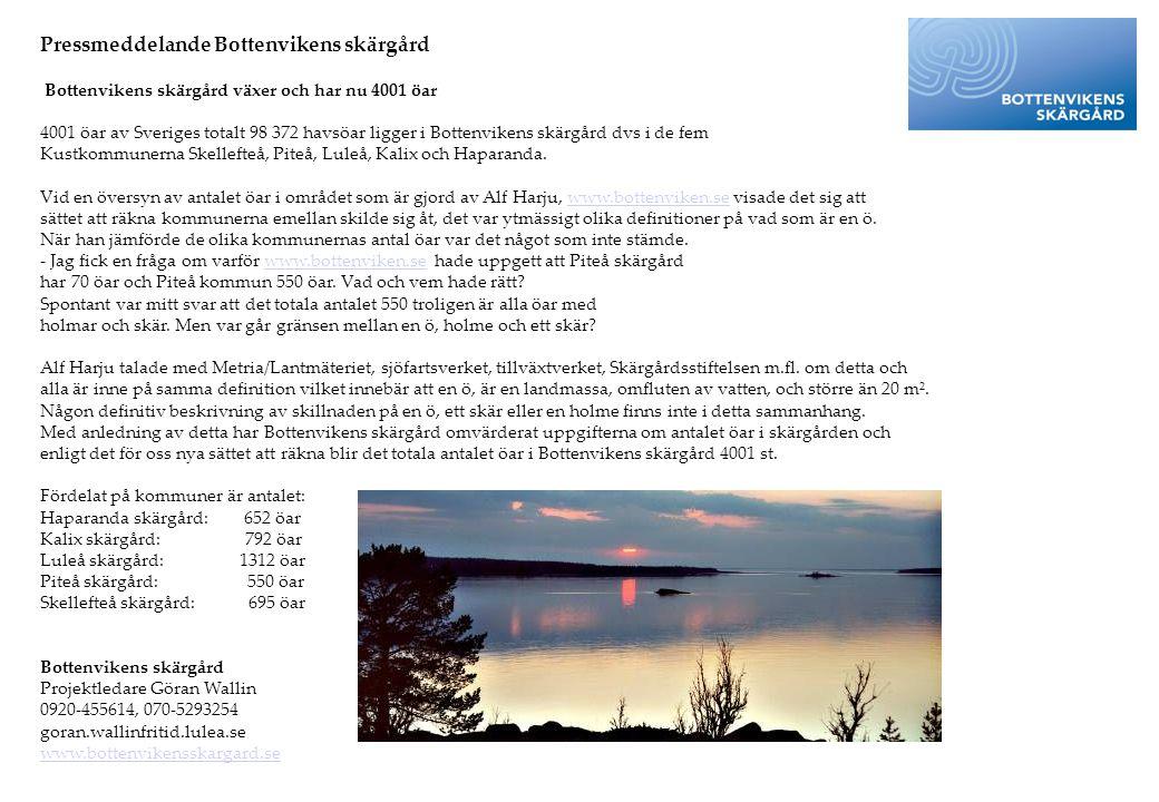 Pressmeddelande Bottenvikens skärgård