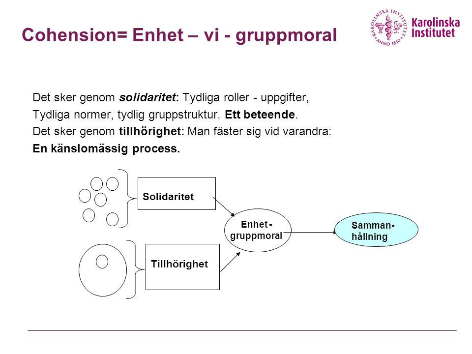 Cohension= Enhet – vi - gruppmoral
