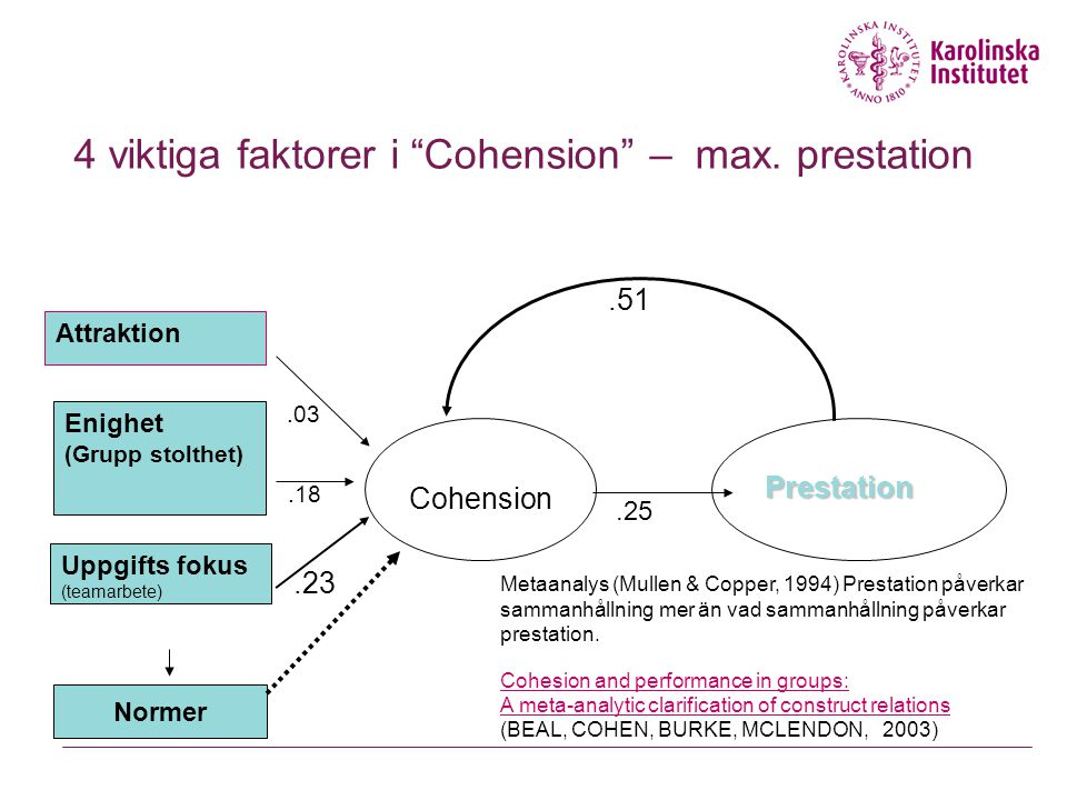 4 viktiga faktorer i Cohension – max. prestation