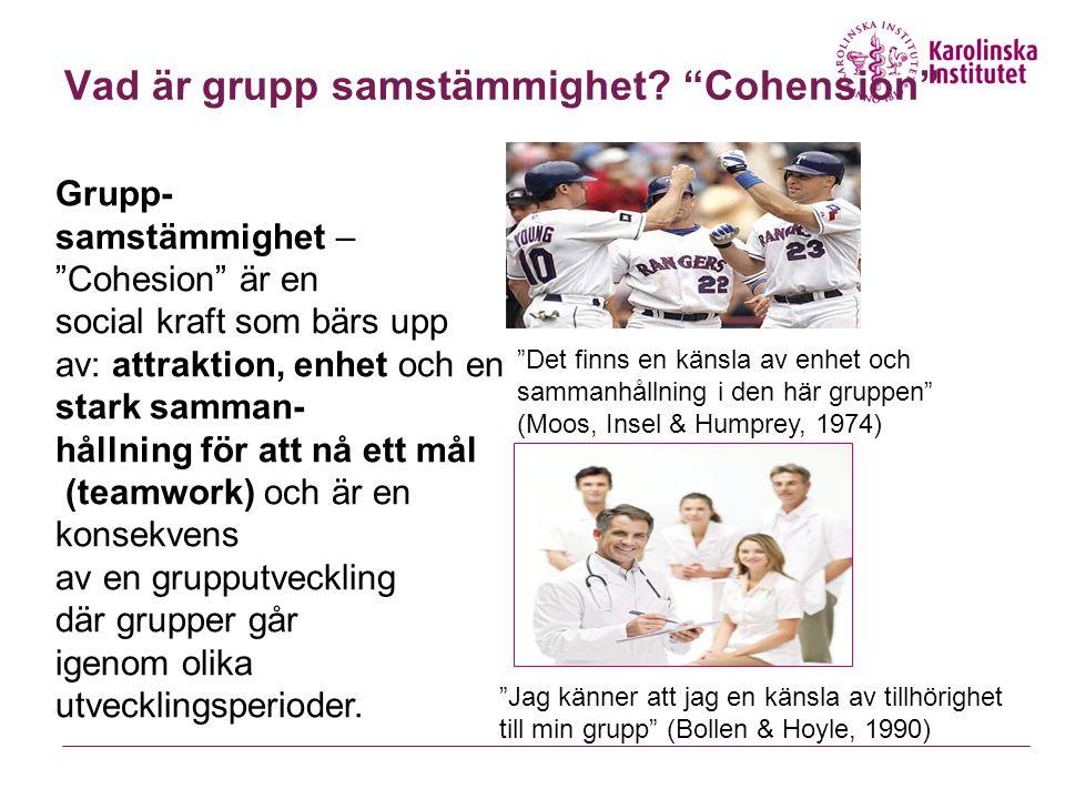 Vad är grupp samstämmighet Cohension