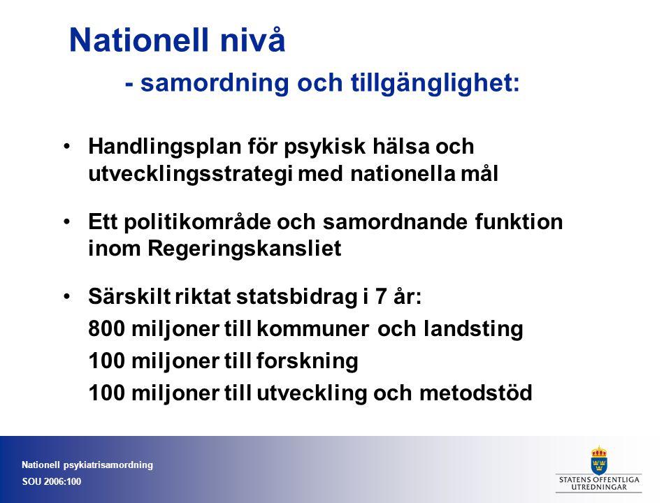 Nationell nivå - samordning och tillgänglighet: