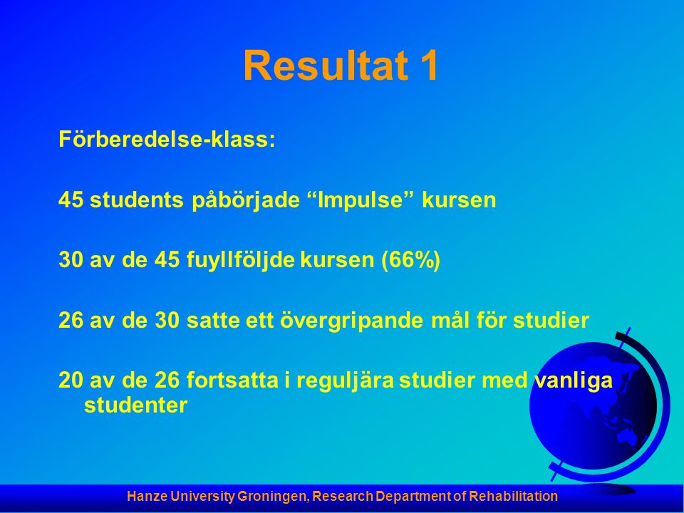 Hanze University Groningen, Research Department of Rehabilitation