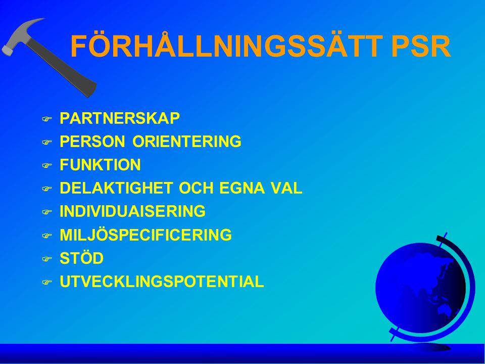 FÖRHÅLLNINGSSÄTT PSR PARTNERSKAP PERSON ORIENTERING FUNKTION