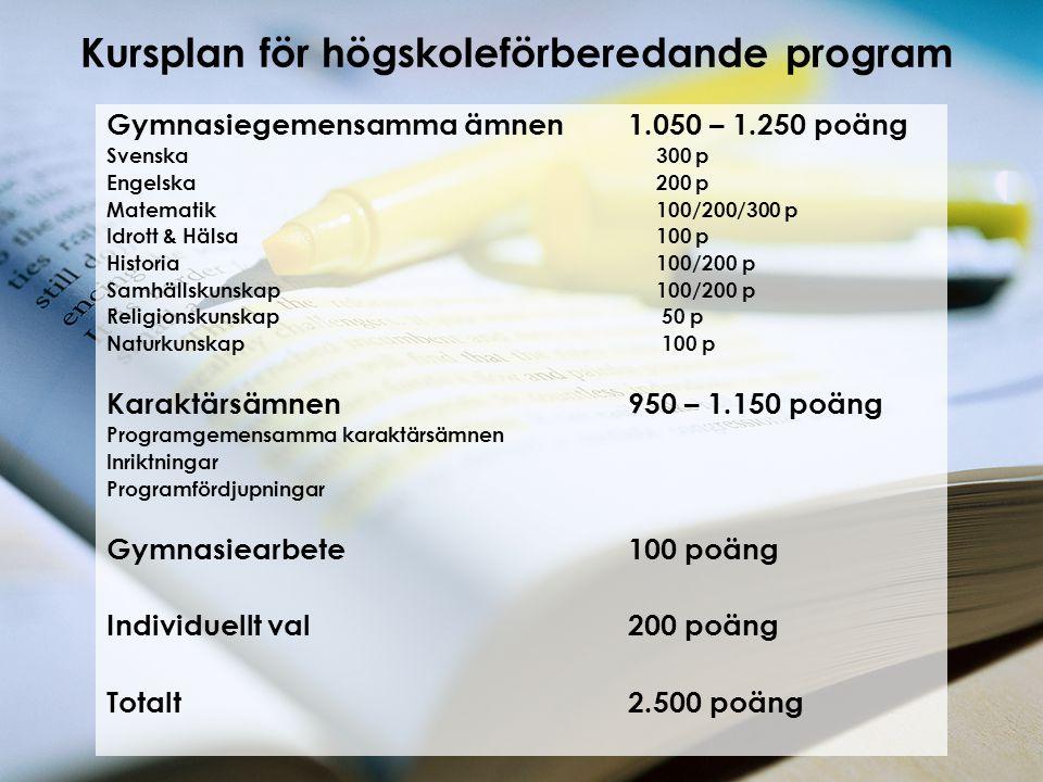 Kursplan för högskoleförberedande program