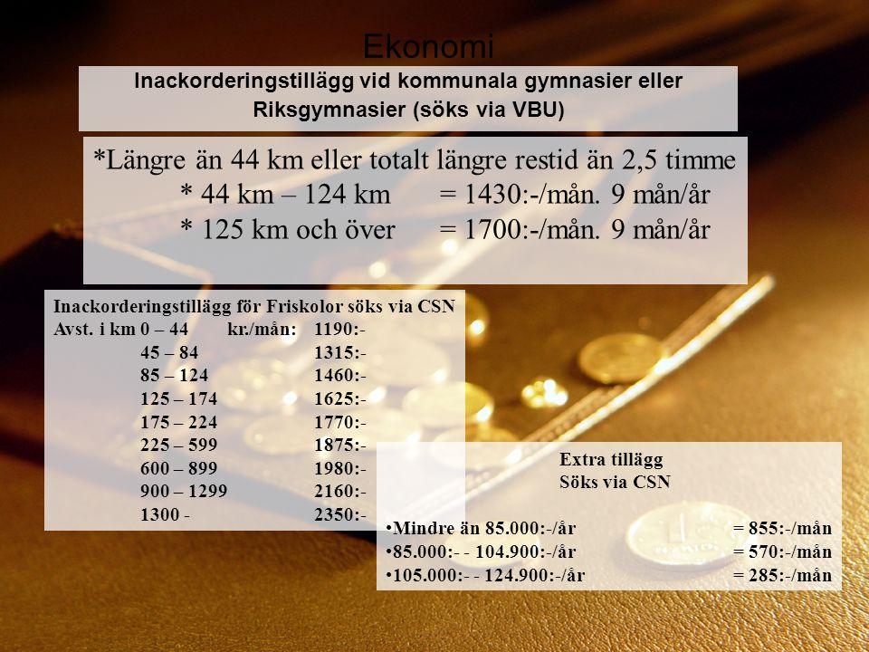 Ekonomi *Längre än 44 km eller totalt längre restid än 2,5 timme