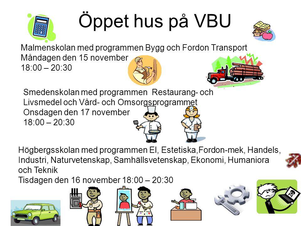 Öppet hus på VBU Malmenskolan med programmen Bygg och Fordon Transport