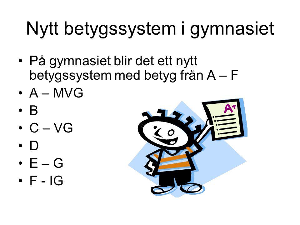 Nytt betygssystem i gymnasiet
