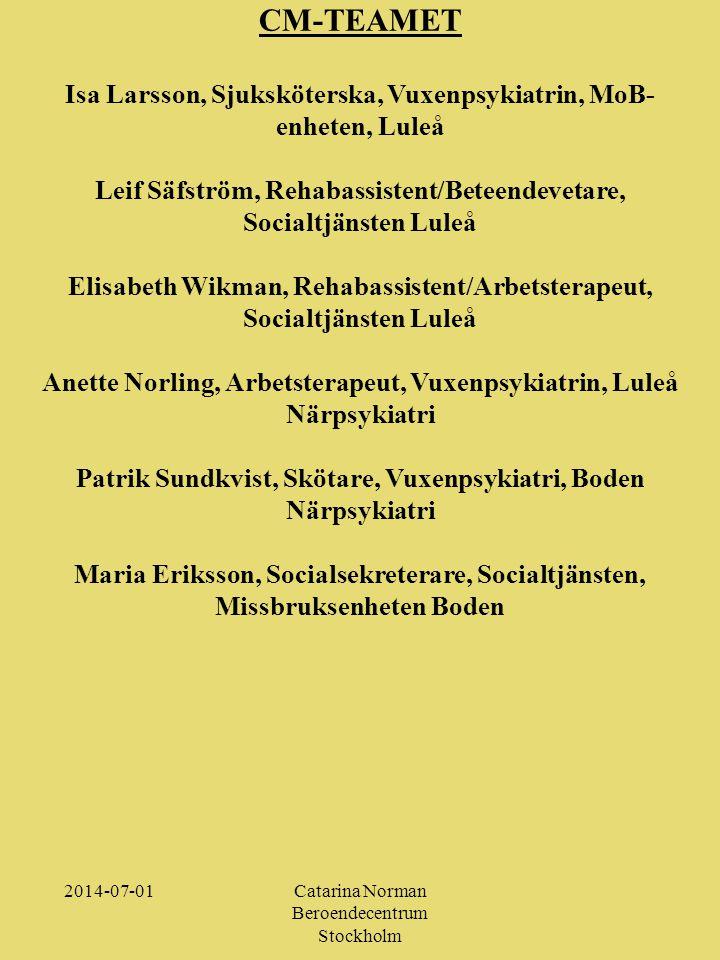 CM-TEAMET Isa Larsson, Sjuksköterska, Vuxenpsykiatrin, MoB-enheten, Luleå. Leif Säfström, Rehabassistent/Beteendevetare, Socialtjänsten Luleå.
