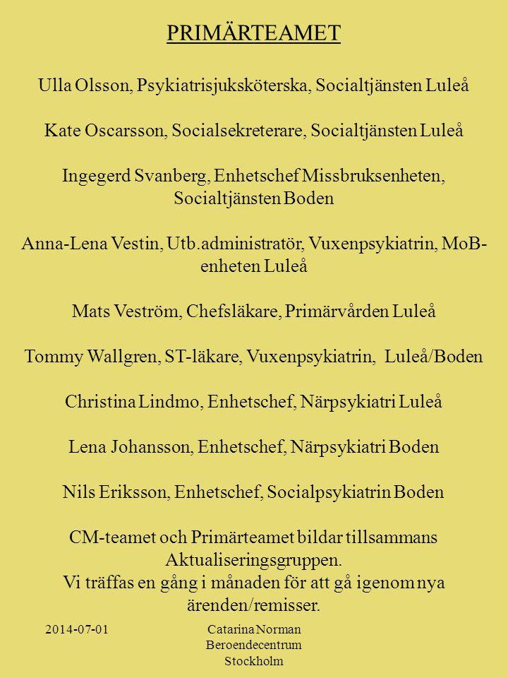 PRIMÄRTEAMET Ulla Olsson, Psykiatrisjuksköterska, Socialtjänsten Luleå