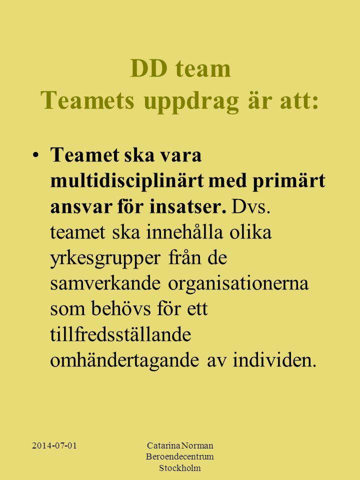 DD team Teamets uppdrag är att: