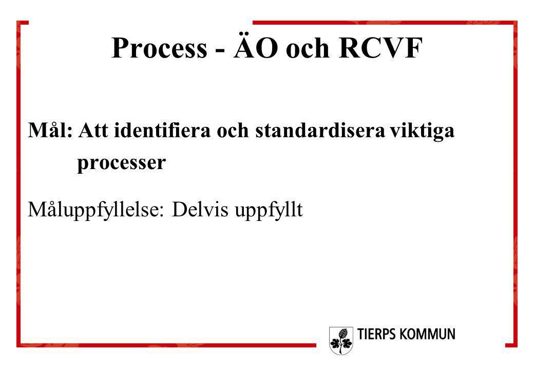 Process - ÄO och RCVF Mål: Att identifiera och standardisera viktiga