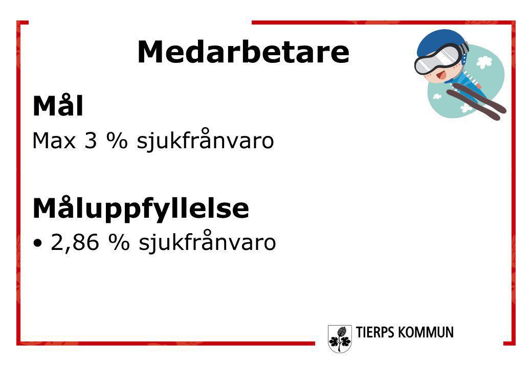 Medarbetare Mål Måluppfyllelse Max 3 % sjukfrånvaro