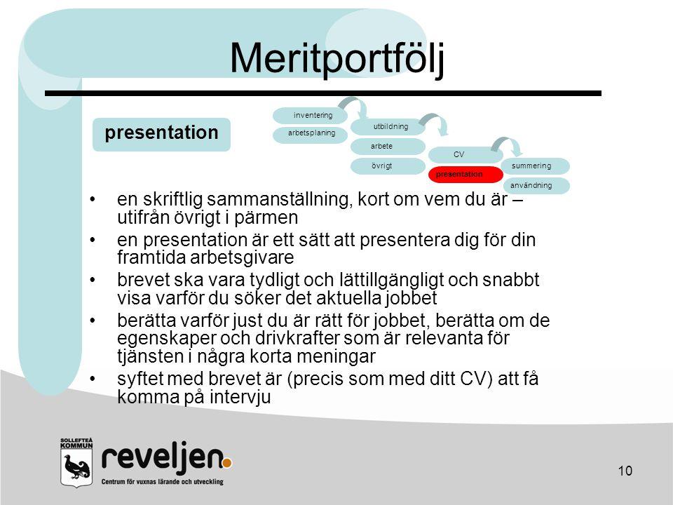 Meritportfölj presentation arbete CV