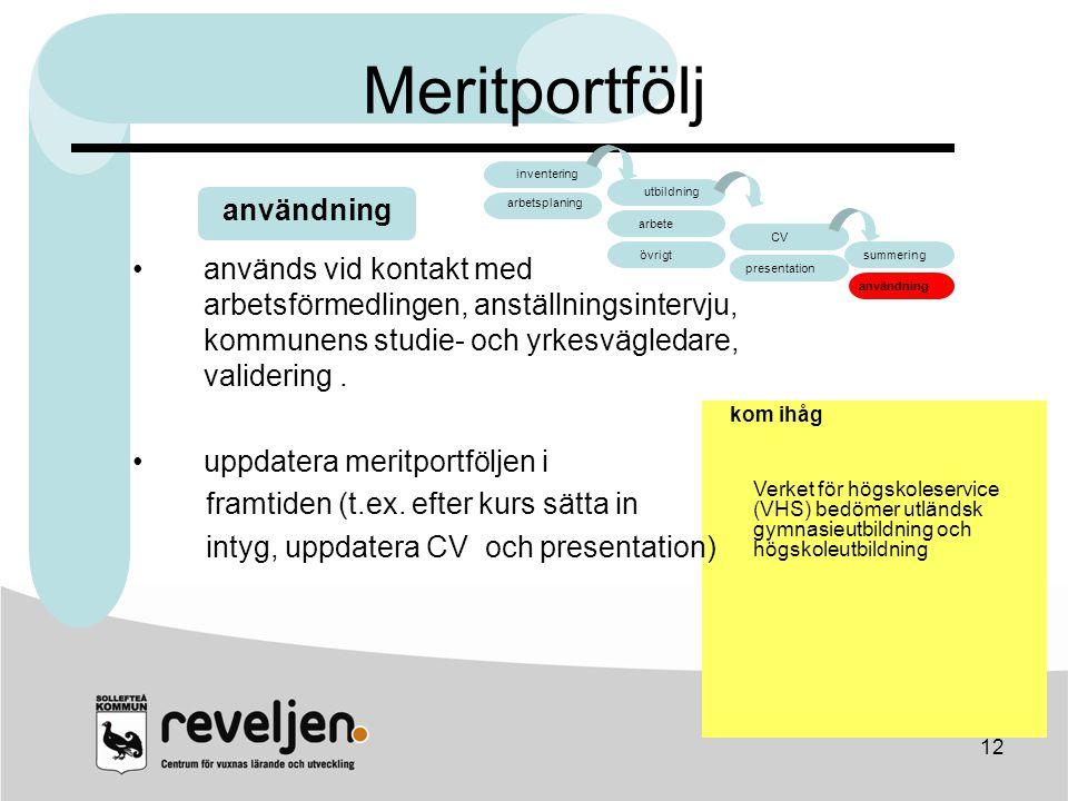 Meritportfölj arbete CV