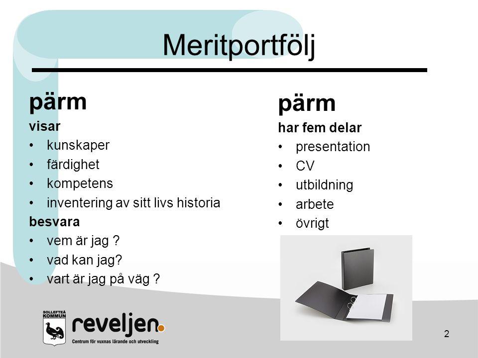 Meritportfölj pärm pärm visar har fem delar kunskaper presentation
