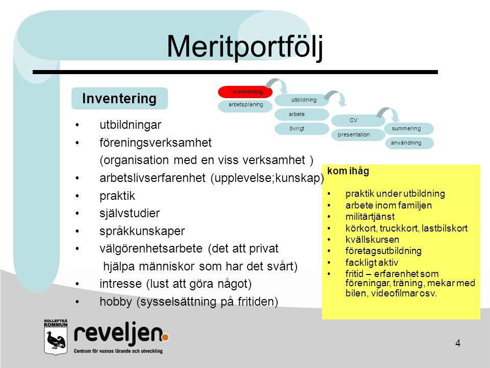 Meritportfölj Inventering arbete CV utbildningar föreningsverksamhet