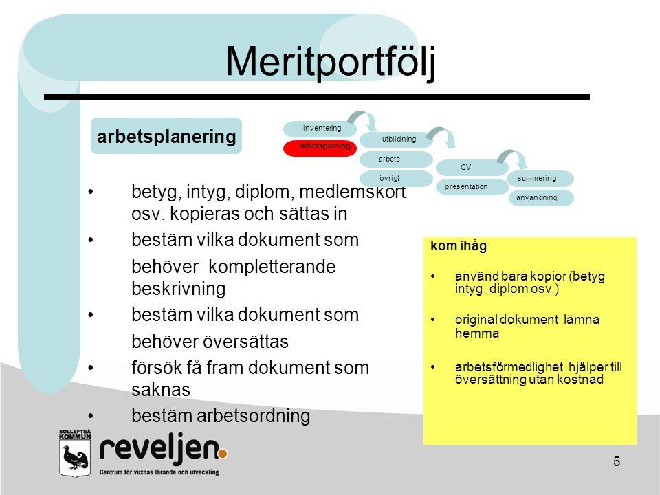 Meritportfölj arbetsplanering arbete