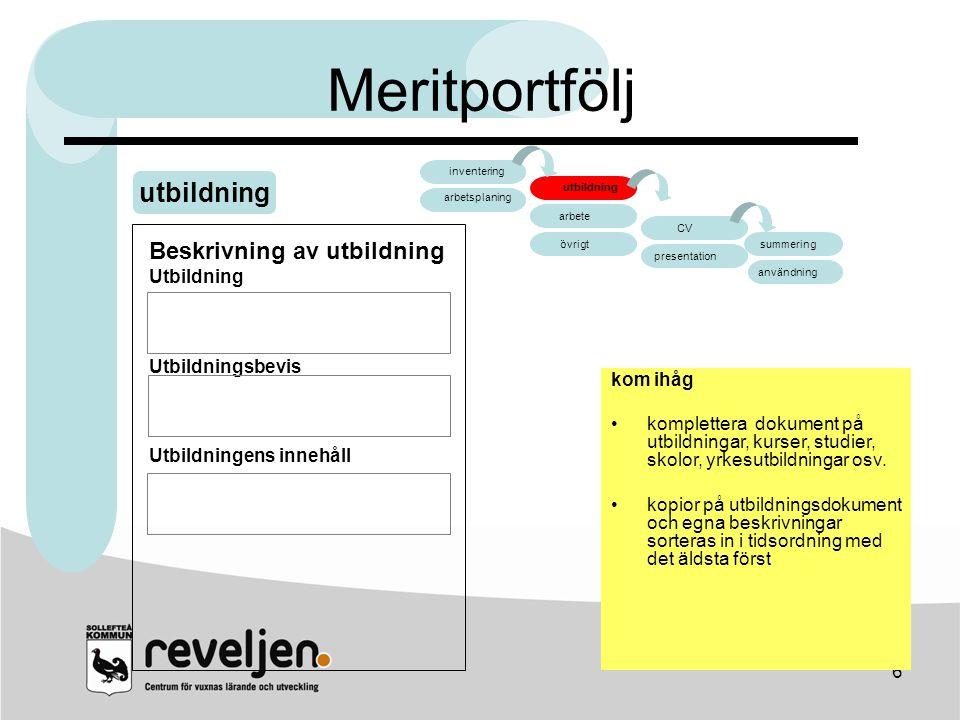 Meritportfölj utbildning arbete CV Beskrivning av utbildning