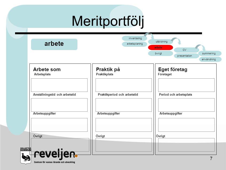 Meritportfölj arbete arbete CV Arbete som Praktik på Eget företag