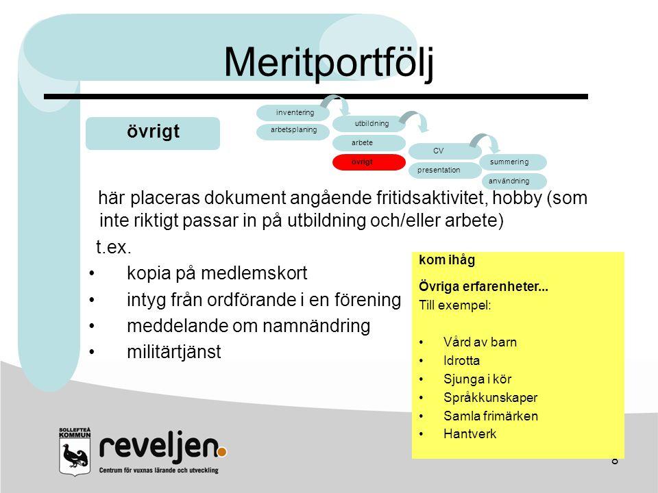 Meritportfölj arbete. CV. övrigt. presentation. summering. användning. inventering. arbetsplaning.