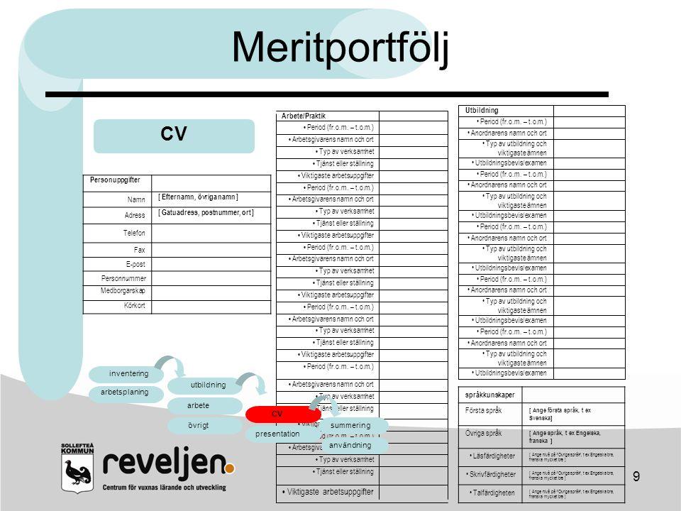 Meritportfölj CV arbete CV • Viktigaste arbetsuppgifter