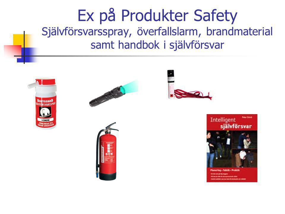 Ex på Produkter Safety Självförsvarsspray, överfallslarm, brandmaterial samt handbok i självförsvar