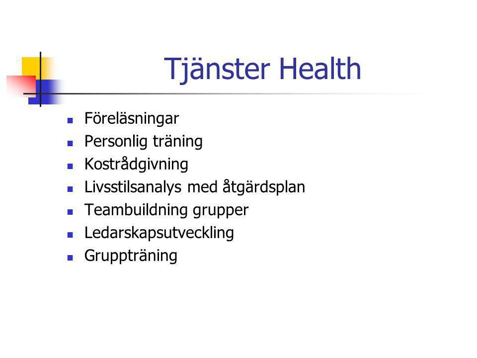 Tjänster Health Föreläsningar Personlig träning Kostrådgivning