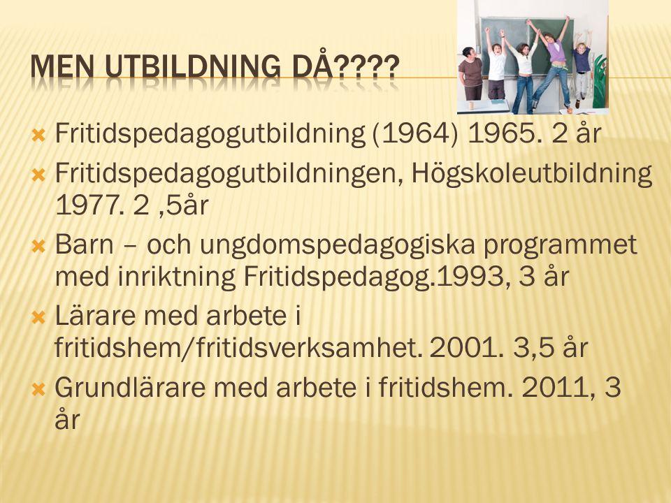 Men utbildning då Fritidspedagogutbildning (1964) 1965. 2 år