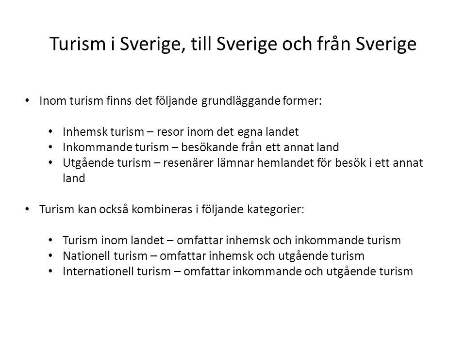 Turism i Sverige, till Sverige och från Sverige