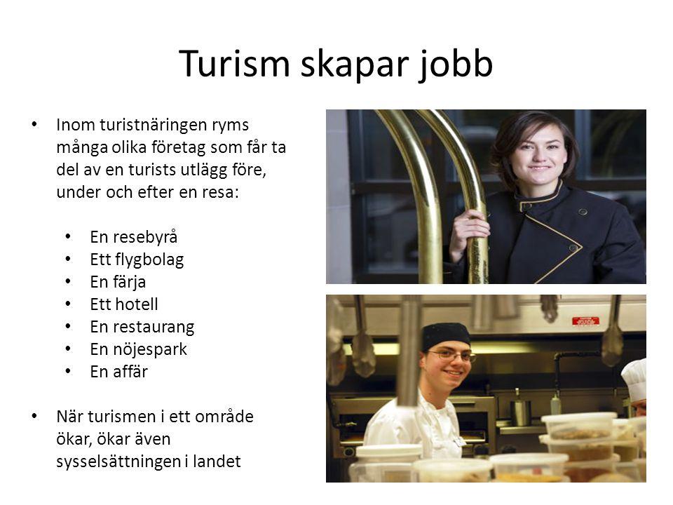 Turism skapar jobb Inom turistnäringen ryms många olika företag som får ta del av en turists utlägg före, under och efter en resa: