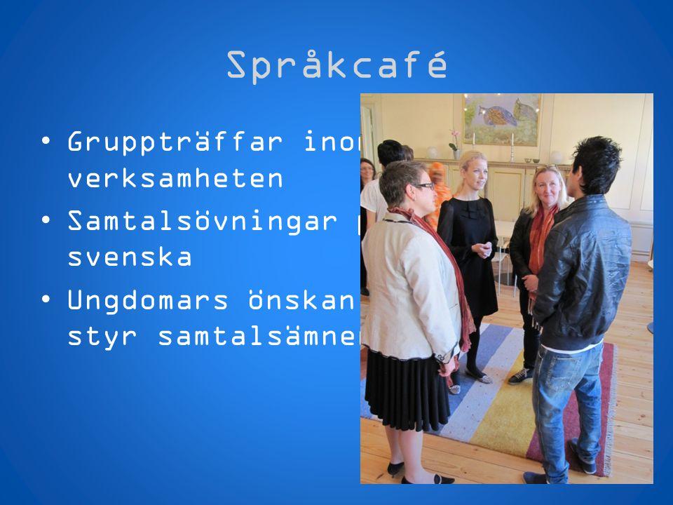 Språkcafé Gruppträffar inom verksamheten Samtalsövningar på svenska