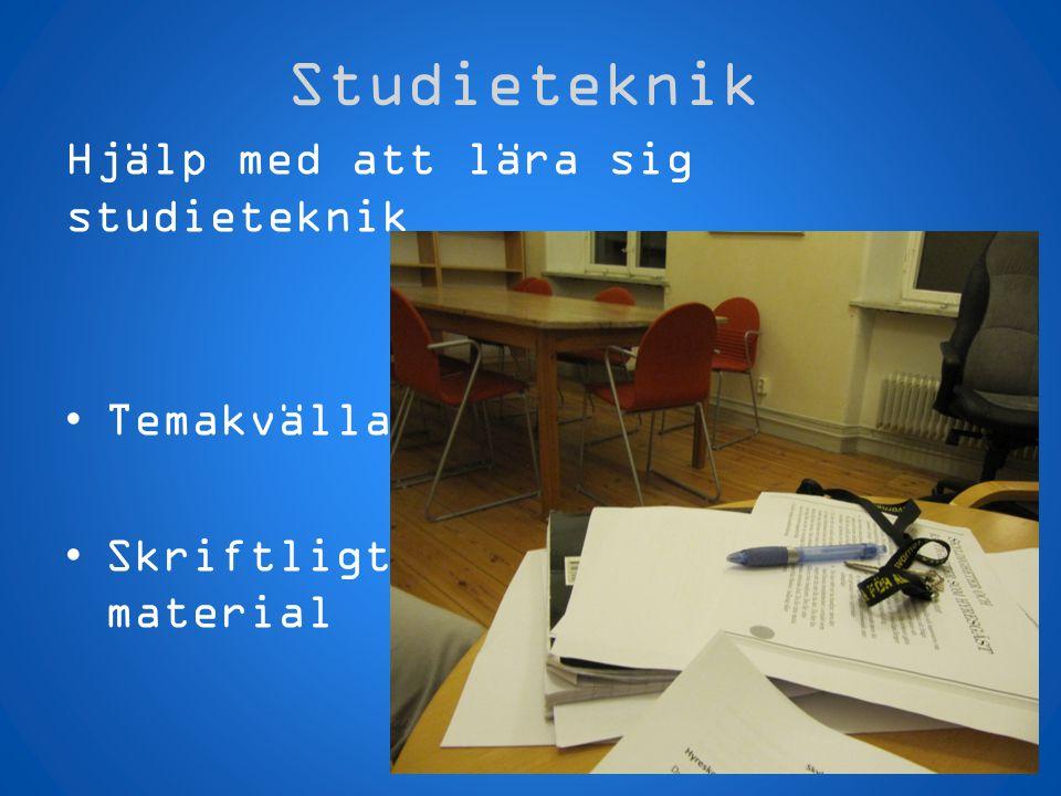 Studieteknik Hjälp med att lära sig studieteknik Temakvällar