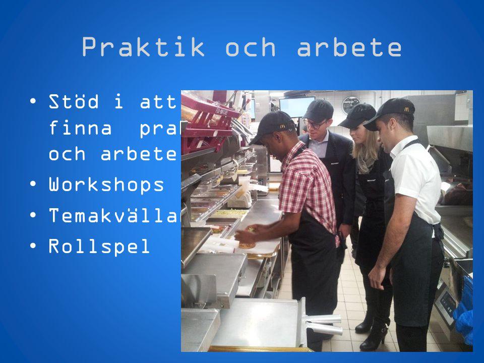 Praktik och arbete Stöd i att finna praktik och arbete Workshops