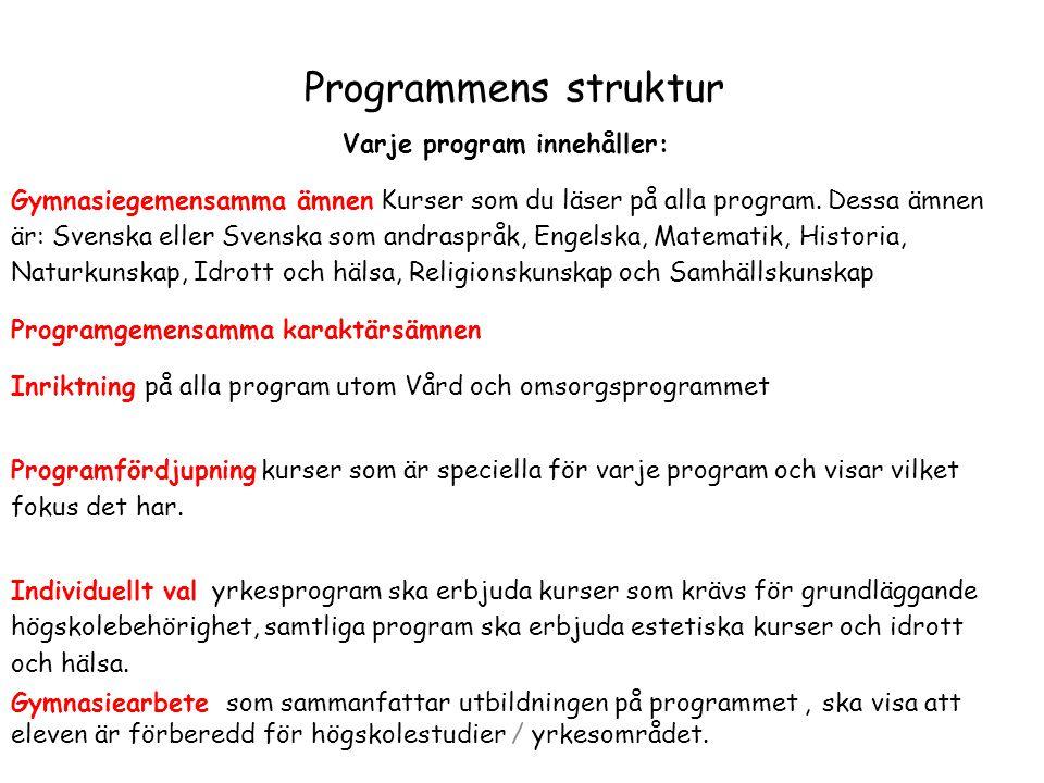 Varje program innehåller: