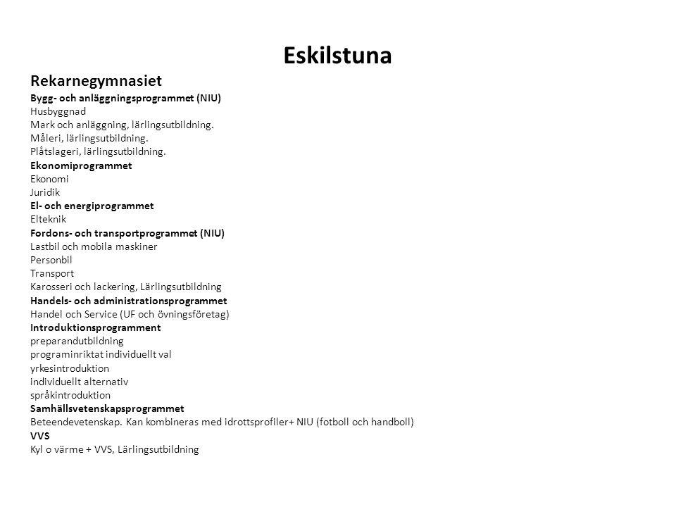 Eskilstuna Rekarnegymnasiet Bygg- och anläggningsprogrammet (NIU)