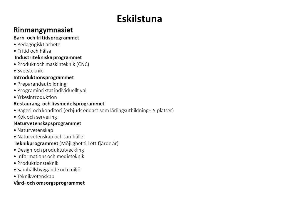 Eskilstuna Rinmangymnasiet Barn- och fritidsprogrammet