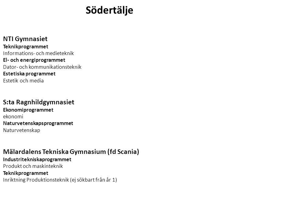 Södertälje NTI Gymnasiet S:ta Ragnhildgymnasiet