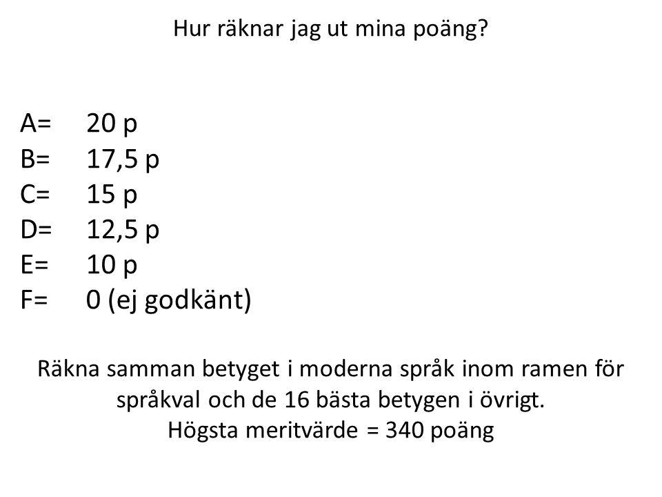 A= 20 p B= 17,5 p C= 15 p D= 12,5 p E= 10 p F= 0 (ej godkänt)