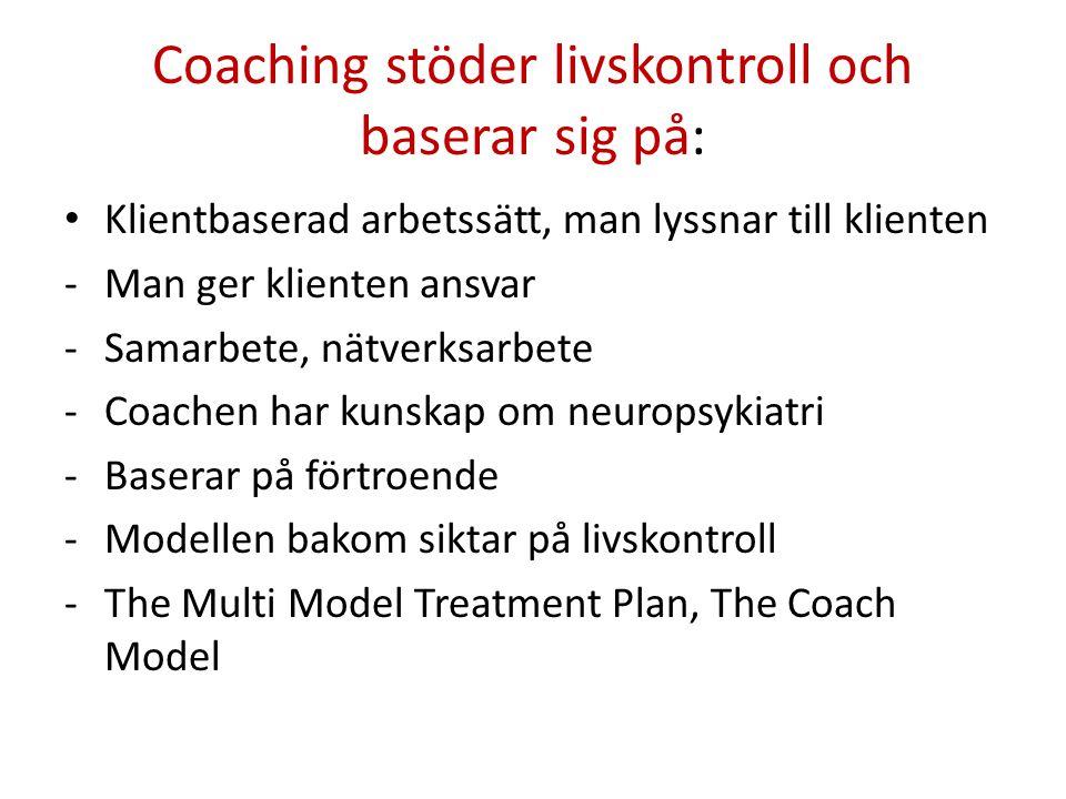 Coaching stöder livskontroll och baserar sig på: