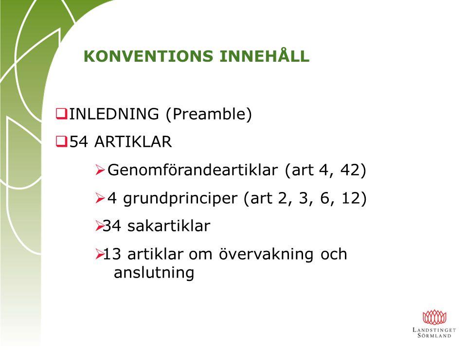 KONVENTIONS INNEHÅLL INLEDNING (Preamble) 54 ARTIKLAR. Genomförandeartiklar (art 4, 42) 4 grundprinciper (art 2, 3, 6, 12)