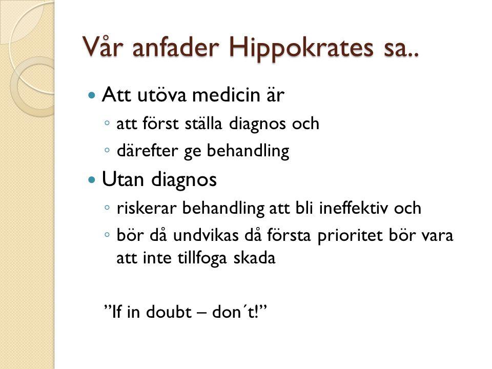 Vår anfader Hippokrates sa..